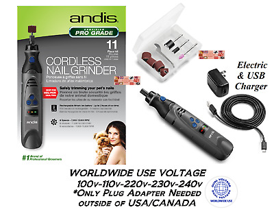 ANDIS PRO CORDLESS RECHARGEABLE Li Ion NAIL GRINDER DOG CAT PET Groomer Grooming
