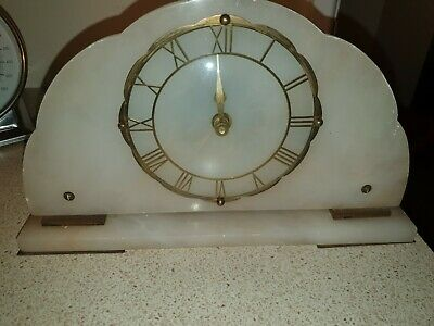 Art Deco Mantle Clock In Working Order.  (Upcycled)