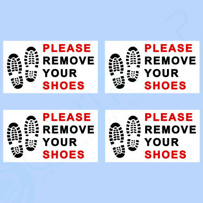 4x Please Remove Your Shoes Sign - Self Adhesive - Swimming Pool, Home, Mosque