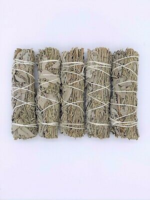 "5X California White/Blue Sage Smudge Sticks 4-5 inches long ""Negativity Removal"""