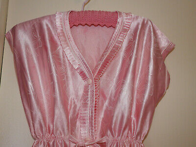 VINTAGE 1960s PEACH PINK SILKY ROBE DRESSING GOWN - SUIT SIZE 10 - 12