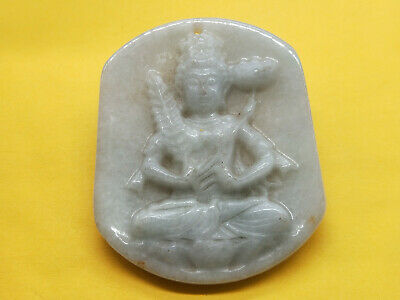 AAAAA Chinese Hand-carved aristocratic wearing Jadeite jade pendant Lotus buddha