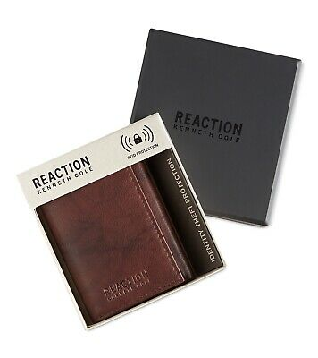 Kenneth Cole Reaction Mens Leather RDIF Extra Capacity Trifold Color Brown