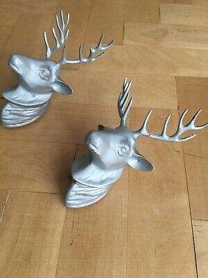 (2x) Pair Of Brass Stags / Deers - Painted In Matt Grey - To Hang On A Wall