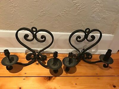 Stunning pair of antique wrought iron wall sconces