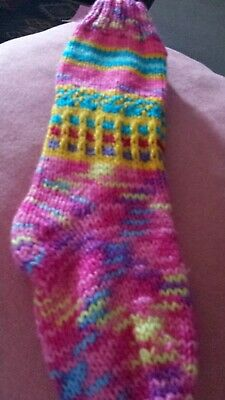 Girls hand knit welly socks. long. fit up to size 12