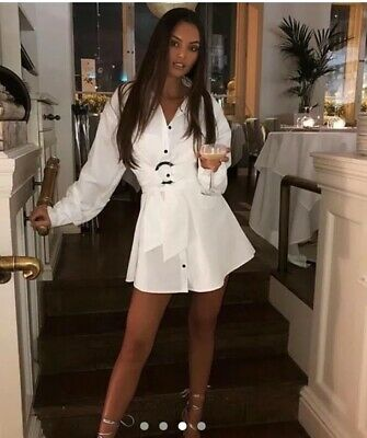 I saw it first. white belted oversized shirtdress Size 8. Brand New with tag