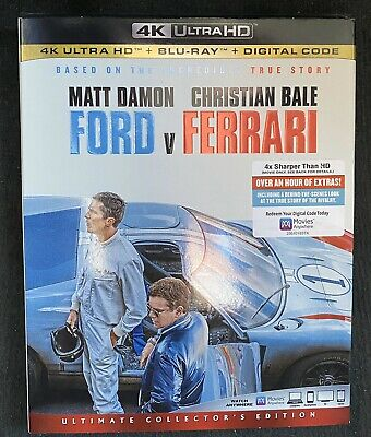 Ford v. Ferrari 4K Ultra HD (4K+Bluray+Digital) Brand New w/Slipcover