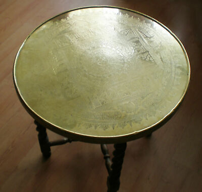 Large Antique Arabic Decorative Tray with Table Base, Brass, 19th Century