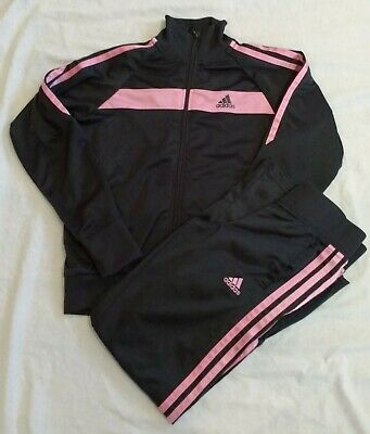 Girls Adidas Tracksuit Jacket &  Joggers - Grey With Pink Stripe  Age 9-10 Years