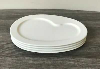 "4 VILLEROY & BOCH PARTY 11"" White Oval Salad Plates - EUC"