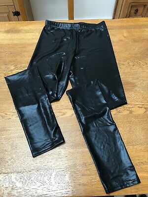 Topshop black leather look wet look shiny high waisted leggings size UK8