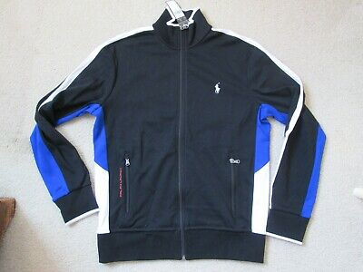 Nwt Polo Ralph Lauren Mens S Black W/ Blue & White Full Zip Track Jacket