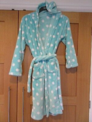 Marks & Spencer girls green and white fleece dressing gown age 15-16 years
