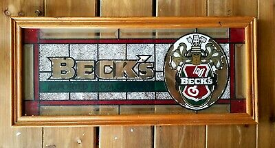 """Vintage BECK'S Stained Glass Beer Bar Sign Wood Frame 22"""" X 10""""  NICE"""