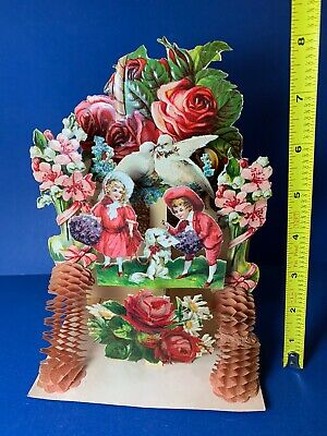 "Antique Vintage 8"" Stand-Up Honeycomb Floral Valentine Card Victorian Germany"