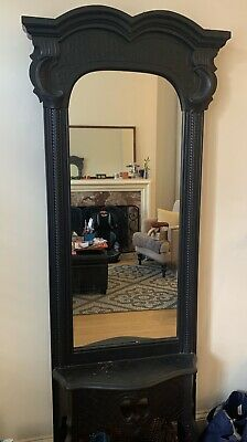 Antique Black Victorian Hall Mirror