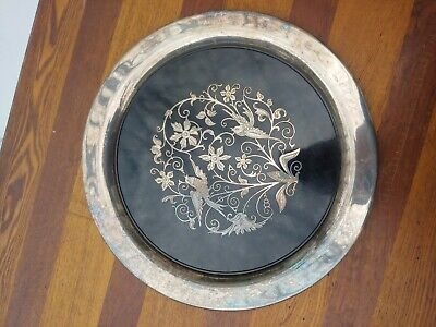 Antique vintage Oneida Silver Plated Bird Plate hand etched embossed graphics