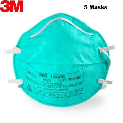 3M 1860S N95 Particulate Surgical Respirator - Pack Of 5 Face Masks Fda Approved