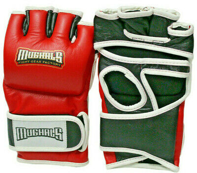MMA Gloves Martial Arts Grappling UFC Leather Cage Sparring Fight Gel Boxing