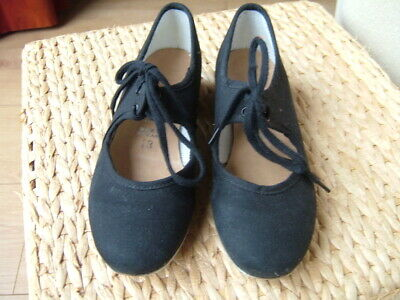 Starlite Black Fabric Tap Dancing Shoes size 13