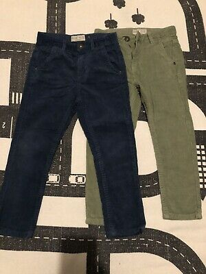 Two Pairs Of Zara Boys Cord Trousers Size 5