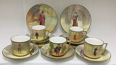 Rare Royal Doulton Series Ware Shakespeariean Characters Cups Saucers And Plates