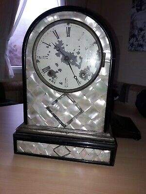 Victorian Mantle Clock With Mother Of Pearl Tile Inlay