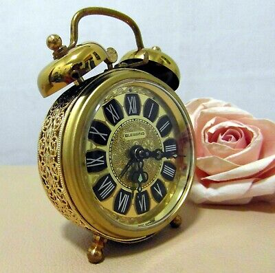 Vintage 1970's Very Decorative Dual Bell Wind Up Clock -  Blessing - West German
