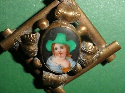 Antique Louis XIV Style Brooch Pinchbeck  Porcelain Miniature Portrait French ?