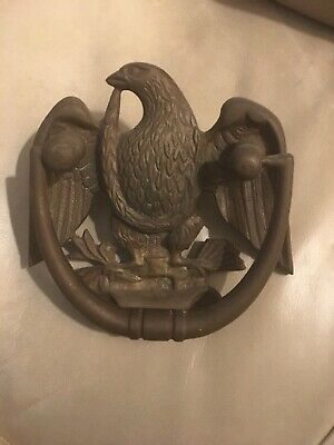 "VINTAGE SOLID BRASS AMERICAN EAGLE DOOR KNOCKER Beautiful 5"" Inch."
