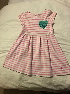 Joules Girls Dress Pink And White Stripe Age 4 Years