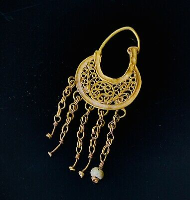 Ancient Byzantine Solid Gold Open Work Earring with 5 chain droplets & Bead