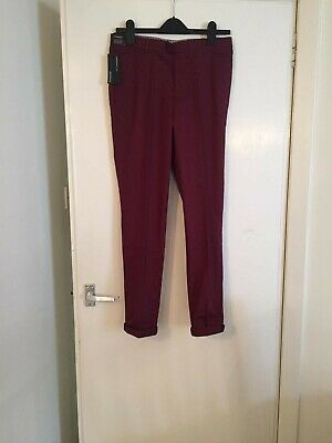 Boys Marks And Spencer Burgundy Smart Trousers Age 13-14 Years