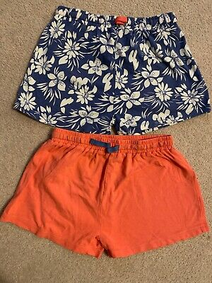 2 Pairs Girls Cotton Shorts Age 8 7-8 Years Coral Floral