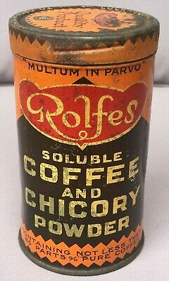Vintage ROLFES Soluble COFFEE And CHICORY POWDER 8 oz TIN, Melbourne, J. Marsh..