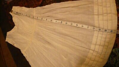 """22""""ANTIQUE FRENCH  COTTON PINAFORE DRESS OR SLIP  for ANTIQUE JUMEAU BISQUE DOLL"""