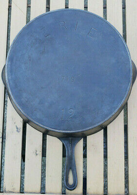 Antique Erie Pre Griswold 12 Cast Iron Skillet 719 Heat Ring HTF Rare Pan Vtg PA
