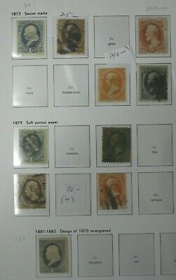 Page of old US stamps