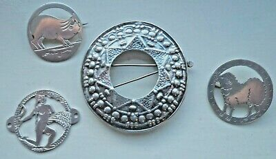 FOUR ARTS & CRAFTS HENRY GEORGE MURPHY FALCON STUDIO c1930 SOLID SILVER BROOCHES