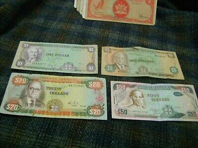 JAMAICA-(1976-2013-)-10,20,100 DOLLARES-LOT of FOUR-(4)-CIRCULATED BANKNOTES
