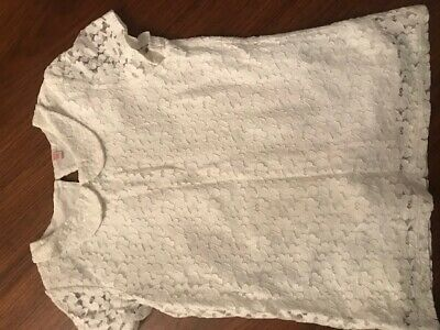 stunning Marks & Spencer girls s/sleeve white lace top with collar detail age 10