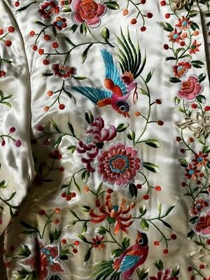 'PLUM BLOSSOMS' Chinese White Silk Satin Jacket Exotic Birds Flowers Embroidery