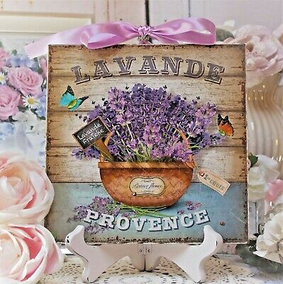 "~ Shabby Chic Vintage French Country Cottage Style Wall Decor Sign ""Lavande"" ~"