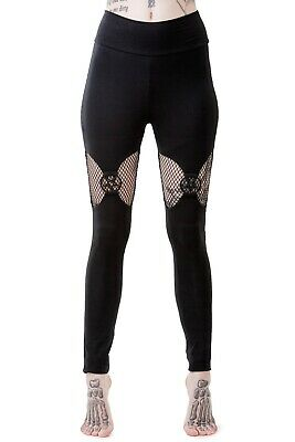 Killstar Electra Fishnet Panel & Metal Pentagram Suspended Look Leggings Goth