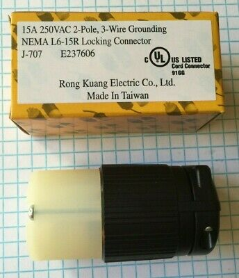 Nema L6-15, 2 Pole, 3 Wire, 15A, 250V Locking Connector, Ul Listed, High Quality