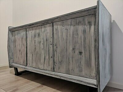 Vintage TV table/buffet/cabinet hand painted in gray-washed