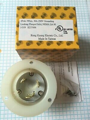 Nema L6-30 Ground Flanged Inlet, 2 Pole, 3 Wire, 30A, 250V High Quality