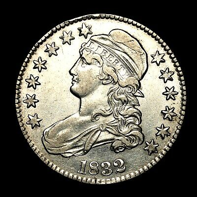 1832 ~**ABOUT UNC AU**~ Silver Capped Bust Half Dollar Antique US Old Coin! #W11
