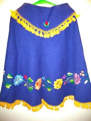 Vintage 1964  Royal Blue Wool Embroidered  Poncho - Ecuador - Small Sz
